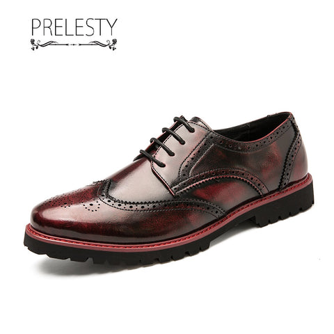 Prelesty Italian Design Men Formal Office Brogues Shoes Business Wedding Handsome Breathable