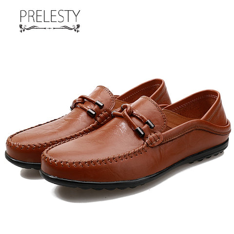Prelesty Men Lightweight Leather Shoes Lightweight Driving Moccasin Simple Breathable Comfortable