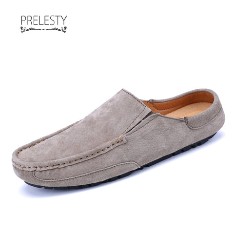 Prelesty Autumn Winter Men Driving Shoes Backless Loafers Open Backs Breathable