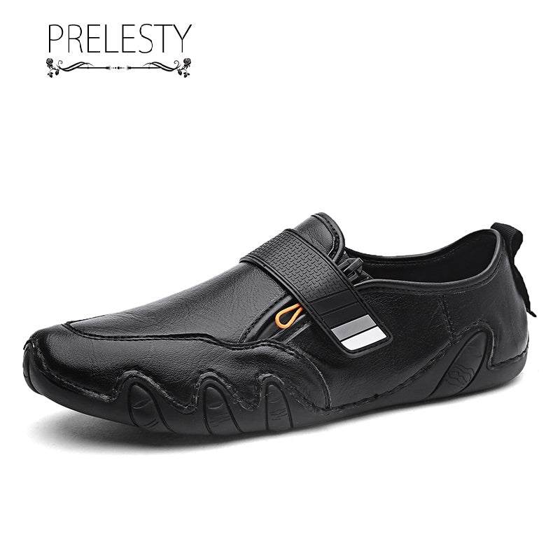 Prelesty Classic Design Men Driving Shoes Fashion Formal Loafer Soft Genuine Leather Handsome Light Breathable