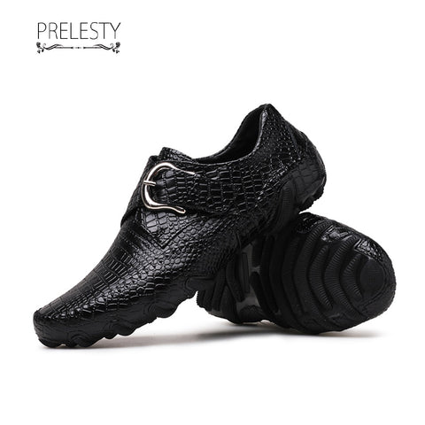 Prelesty Fashion Soft Cow Leather Men Driving Shoes Formal Slip On Crocodile Breathable Buckle