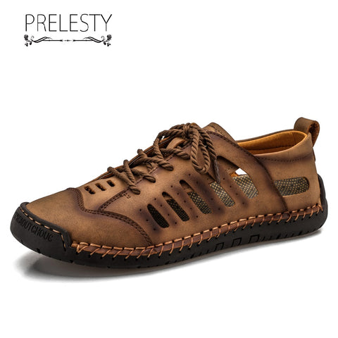 Prelesty Fashion New Summer Men Sandal Straps Shoes Outdoor Hollow Breathable Lightweight Waterproof