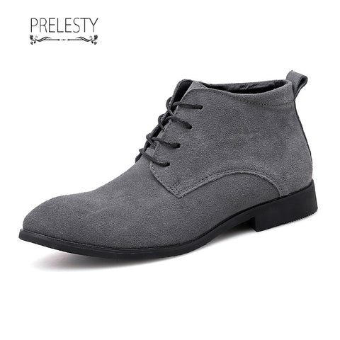 Prelesty Delicate Winter Men Boots Suede Leather Vintage English Style Ridding