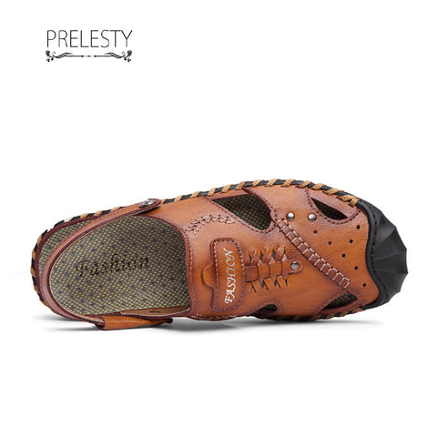 Prelesty Cool Summer Men's Split Leather Breathable Outdoor Sandals Shoes