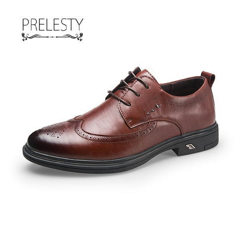 Prelesty Vintage Leather Mens Oxfords Flats Shoes Italian Style Fashion Dress