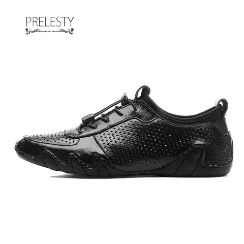 Prelesty Carved Holes Genuine Leather Men Dress Shoes Formal Lace Up Business Oxfords