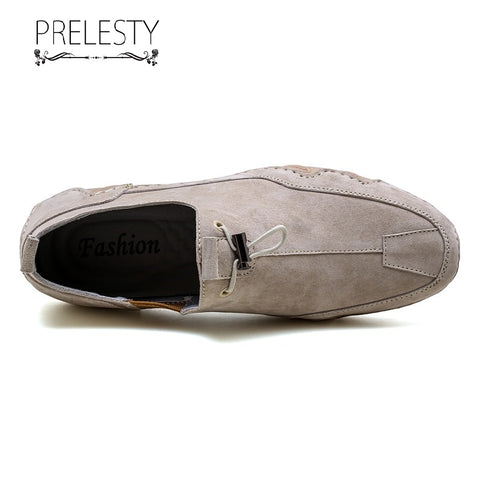 Prelesty Classic Comfortable Men Driving Shoes Fashion Casual Moccasin Soft Genuine Leather High Quality