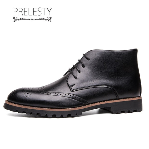 Prelesty Fashion Leather Men Ankle Boots Lace Up Shoes Vintage English Platform Formal Breathable