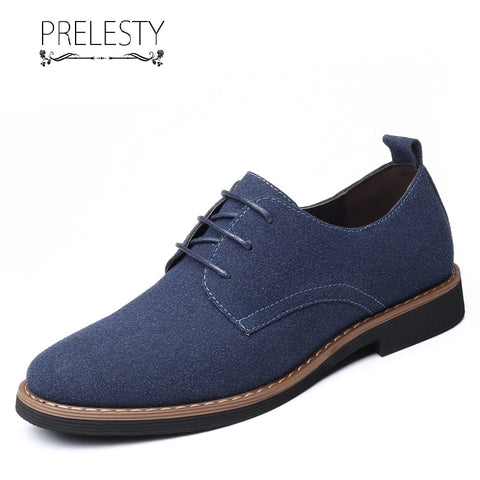 Prelesty Big Size Elegant Cool Men Formal Brogues Shoes Business Smart Flat Office Suede Leather Handsome