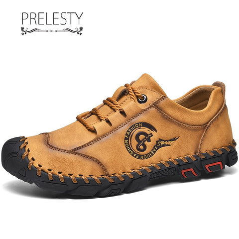 Prelesty Handsome Flexible Cool Leather High Quality Men Dress Formal Lace Up Shoes Street Fashion