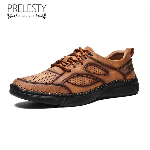 Prelesty Big Size Summer Cow Leather Fashion Men's Hiking Shoes Mountain Outdoor Breathable