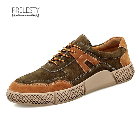 Prelesty Modern Men Dress Shoes Formal Brogues Handmade Comfortable Patchwork Mixed Color Design