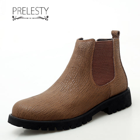 Prelesty New Good Leather Men Chelsea Boots High Tops Shoes Vintage Platform Formal Breathable