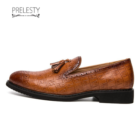 Prelesty Vintage Party Retro Luxury Work Men Dress Shoes Formal Slip On Plaid Platform Outsole