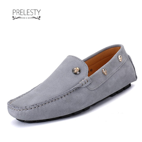 Prelesty Winter Men's Leather Slip On Skull Casual Flats Men's Driving Party Loafer