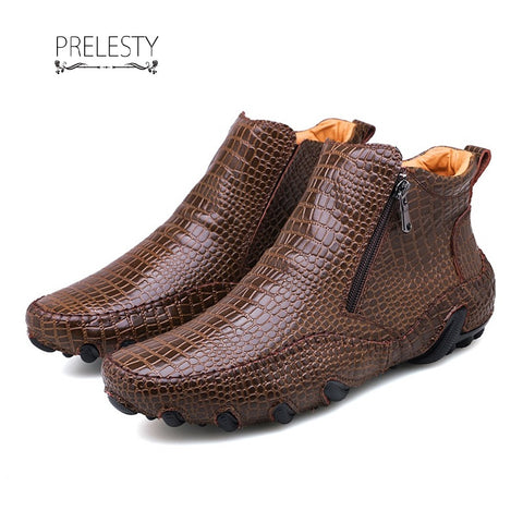 Prelesty Big Size 38~47 Winter Men Boots Vintage English Style Real Leather Crocodile