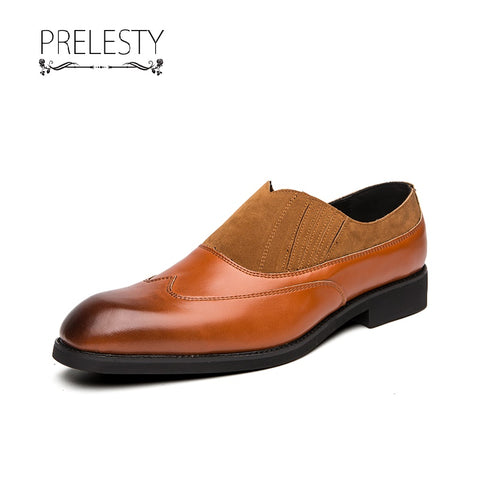 Prelesty Large Size Elegant Men Formal Office Slip On Shoes Business Mixed Color Leather Wedding