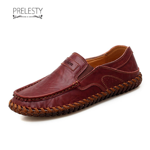 Prelesty Delicate Men Formal Slip On Shoes Driving Soft Handsome Business Rubber Outsole