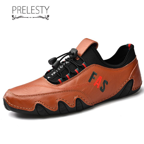 Prelesty Fashion Handmade Loafer Soft Casual Genuine Cow Leather Men Driving Shoes Breathable Durable Material