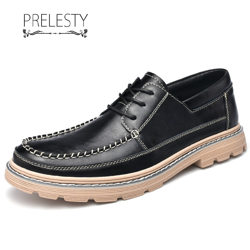 Prelesty Fashion Men Formal Dress Shoes Business Cow Leather Thick Bottom Design Comfortable