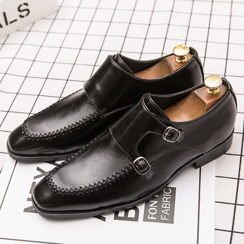 Prelesty Gentleman Italian Design Men Dress Monk Strap Shoes Formal Slip On Business Party Wedding