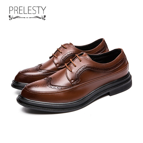 Prelesty Vintage Retro Luxury Men Dress Shoes Fashion Brogue Oxford Party Wedding
