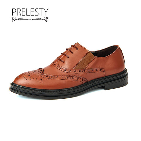 Prelesty Fashion Business Men's Luxury Shoes Brogue Stylish Cool Handsome