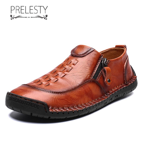 Prelesty Big Size 38-48 Fashion Casual Loafer Cow Leather Men Driving Shoes Moccasin Lightweight Zipper Design