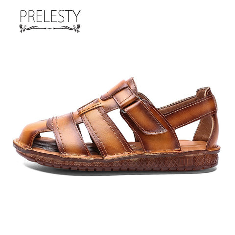 Prelesty Big Size 38-48 Soft Good Men's Gladiator Sandal Shoes Beach Genuine Leather Outdoor Waterproof
