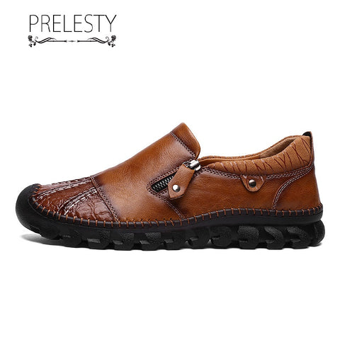 Prelesty Fashion Men Formal Slip On Shoes Business Genuine Leather Zip Comfortable Handsome Breathable Hand made