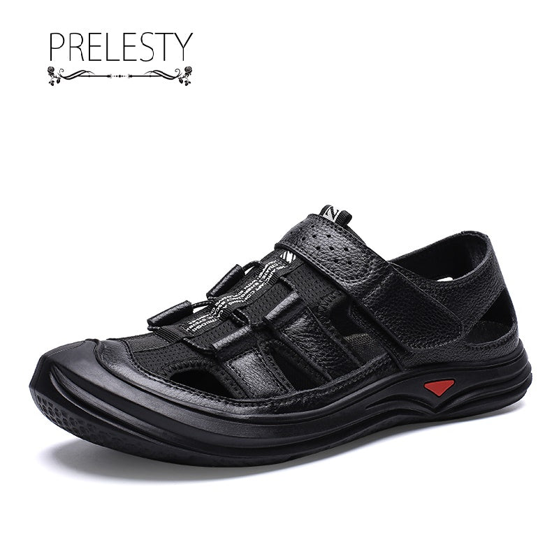 Prelesty Summer New Men Sandal Buckle Outdoor Genuine Cow Leather Cool Breathable Comfortable