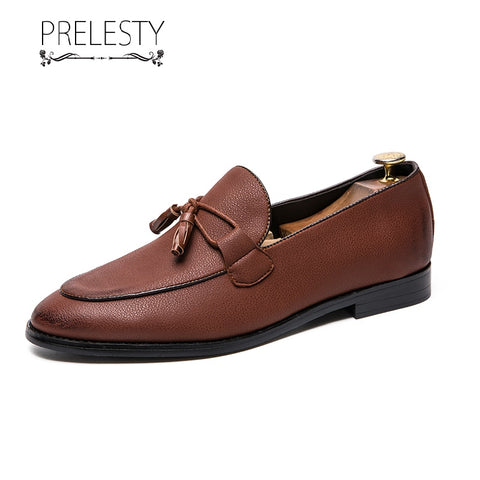 Prelesty Classic Fashion Men Formal Tassel Loafer Shoes Business Work Office Party Handsome Comfortable Wedding