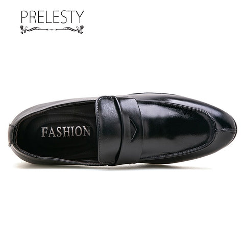 Prelesty Big Size 38~48 Classic Italian Style Formal Good Soft Men Dress Shoes Loafer Office Wedding Breathable