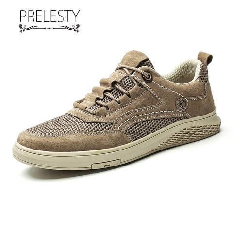 Prelesty Retro Men Formal Oxfords Lace Up Shoes Handsome Soft Good Leather Business Office Classic Breathable