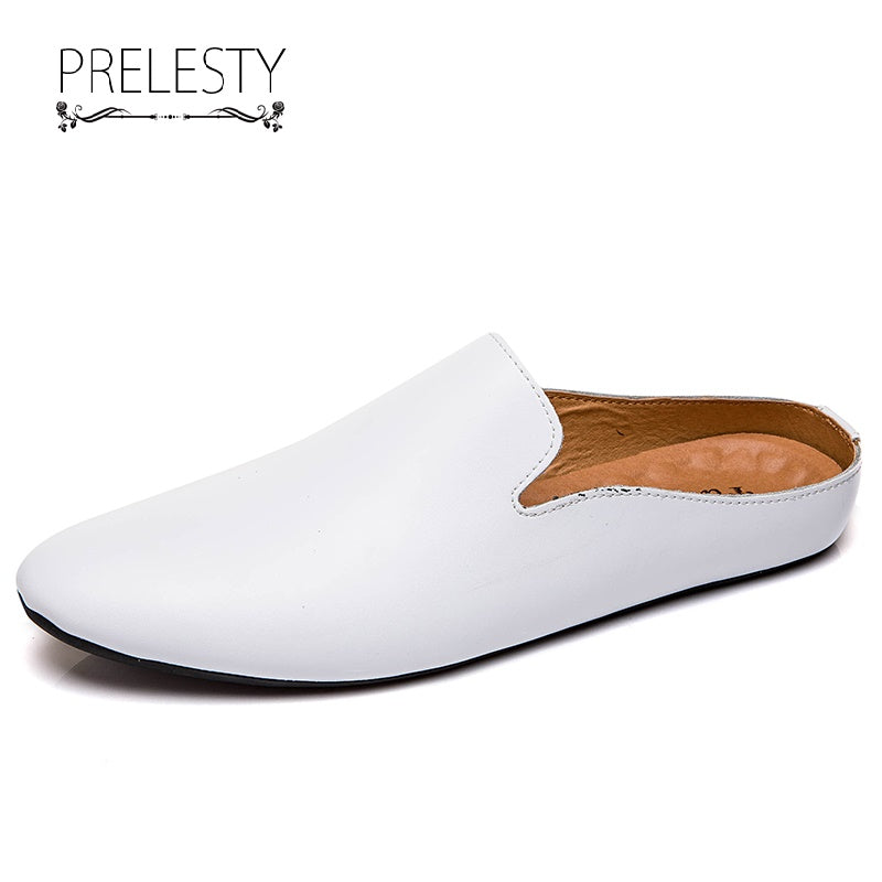 Prelesty Breathable Soft Leather Casual Men Driving Shoes Backless Loafers Flexible