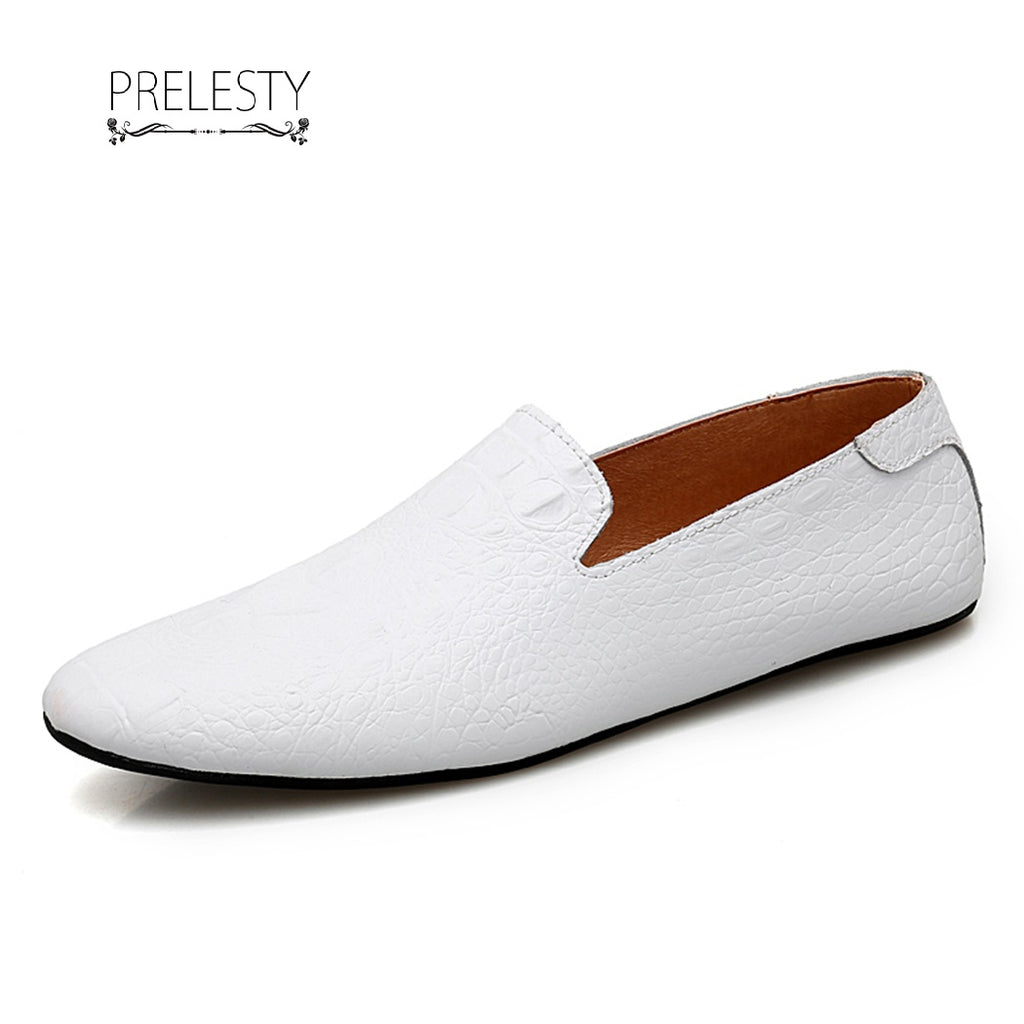 Prelesty Casual Simple Soft Leather Men Driving Shoes Summer Slip On Loafer Crocodile