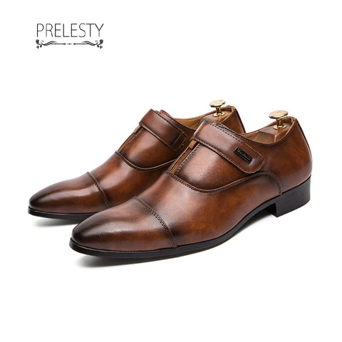 Prelesty English Genuine Leather Men Formal Shoes Strap Brogues Retro Handsome Steampunk
