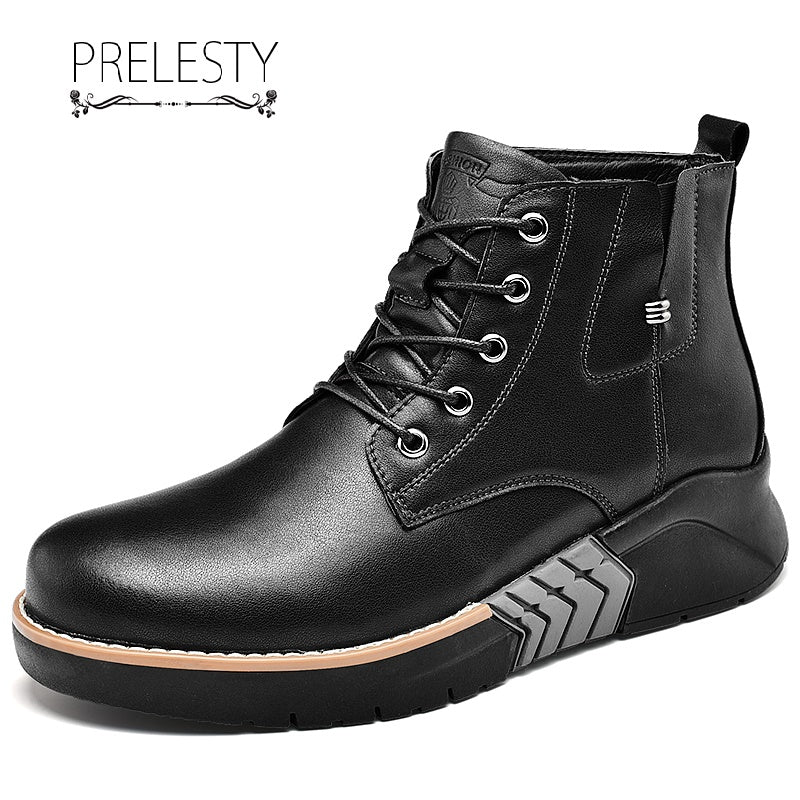 Prelesty Luxury Steampunk Men Boots High Tops Shoes Vintage English Style Handsome Thick Bottom
