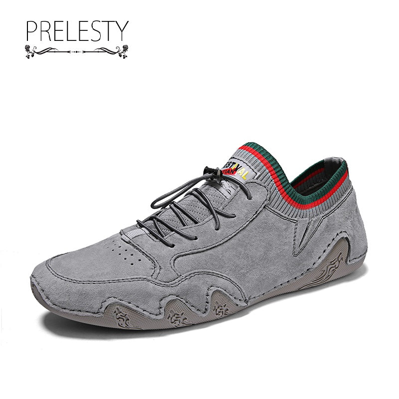 Prelesty Classic Style Soft Men Driving Shoes Loafer Genuine Cow Leather Walking Comfortable
