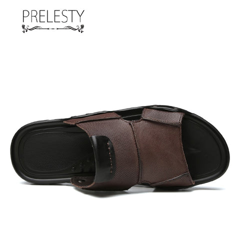Prelesty Fashion Summer Cow Leather Men Slide Sandal Straps Shoes Outdoor Simple