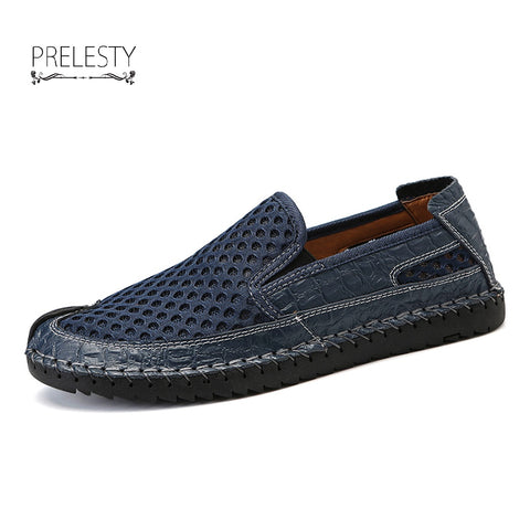 Summer Men Flat Quality Mesh Solid Breathable Holes Slip-On Outdoor