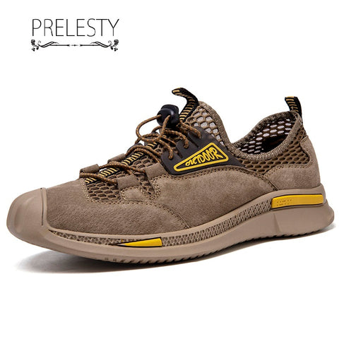 Prelesty Summer Soft Men's Hiking Shoes Handsome Comfortable Outdoor Breathable High Quality