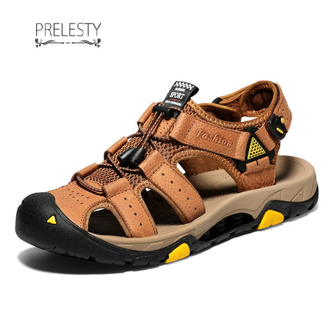 Prelesty Fashion Leather New Cool Breathable Summer Men Sandal Outdoor