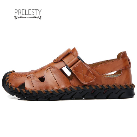 Prelesty Summer 2 Ways Men Beach Sandals Shoe Outdoor Breathable Cow Leather