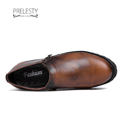 Prelesty Men Dress Shoes Soft Light Leather Slip On Business Cool Platform