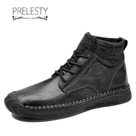 Prelesty Big Size 39-48 Winter Fashion Men Boots Shoes Socks Design Classic Comfortable Soft