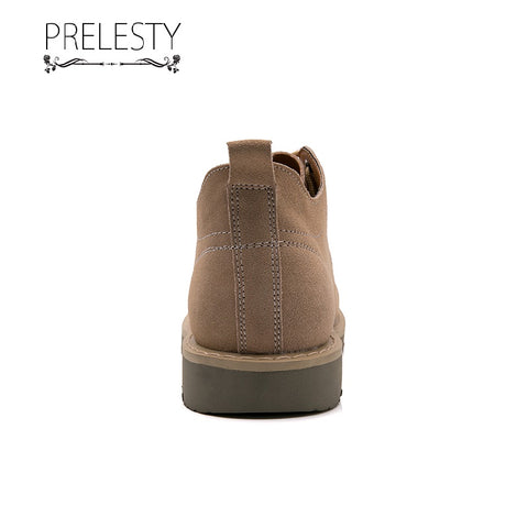 Prelesty Italian Design Fashion Men Boots Shoes High Tops Handsome Genuine Suede Leather Comfortable