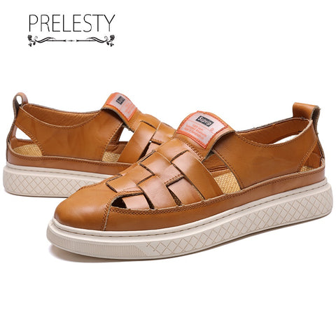 Prelesty Fashion Summer Soft Leather Classic Men Sandal Shoes Outdoor Simple Breathable Beach Wear Comfortable