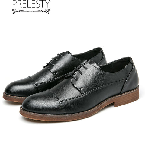 Prelesty Big Size Fashion Leather Men Formal Shoes Brogues Thick Bottom Party Wedding