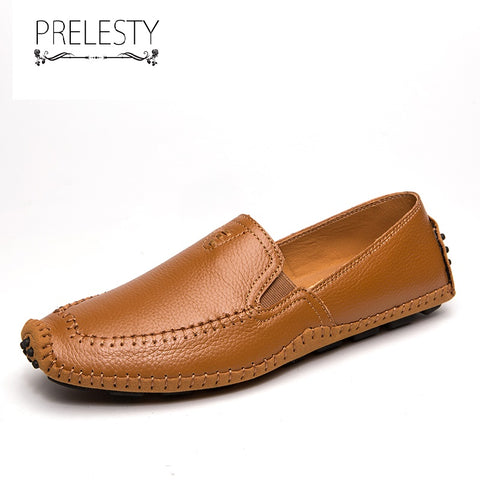 Prelesty Big Size 38-47 Classic Comfortable Men Driving Shoes Fashion Casual Moccasin Genuine Leather Handsome